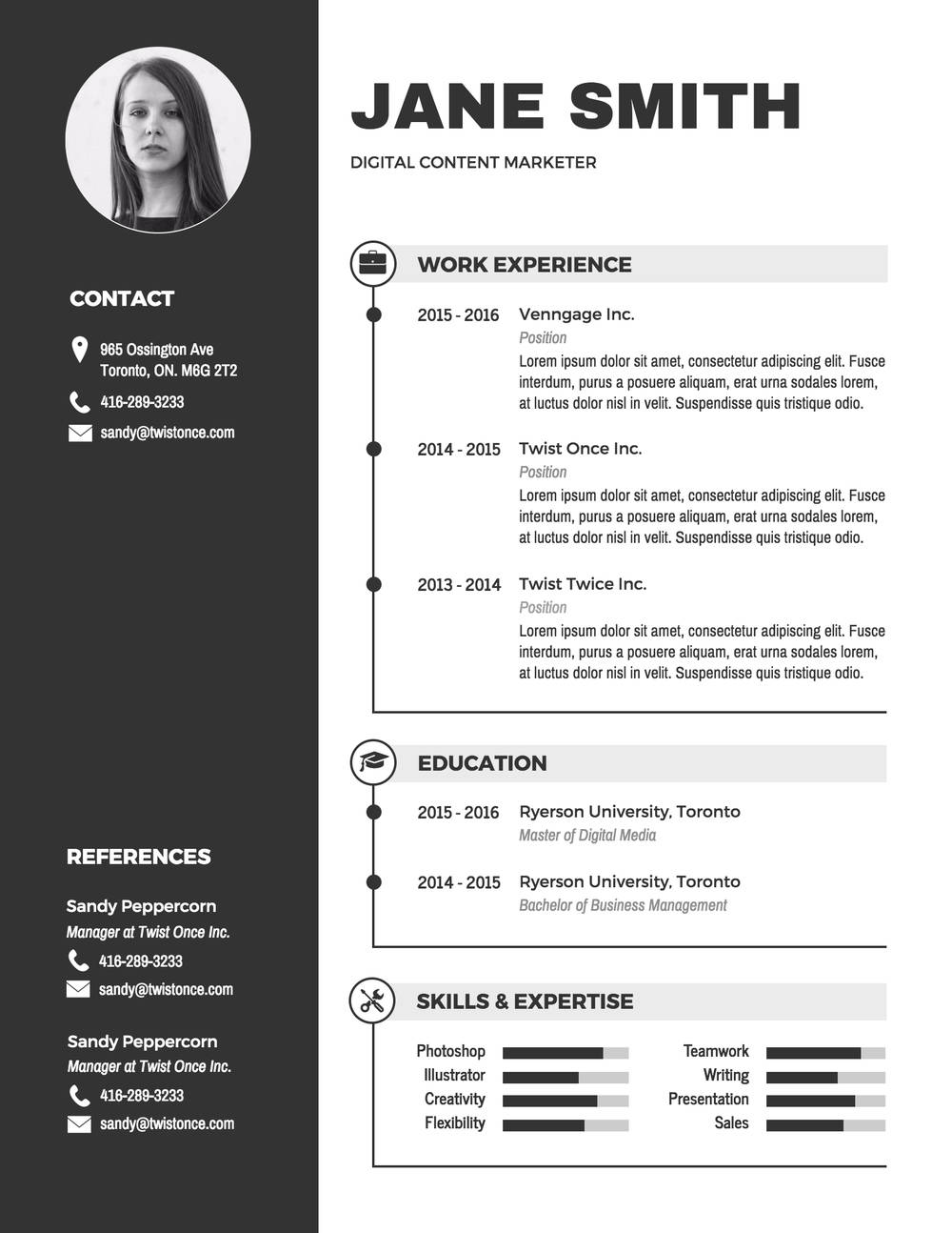 exemplu cv infografic